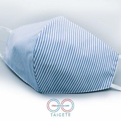 Mascherine in tessuto lavabili righe bianche e blu cotone checamicia - Taigete