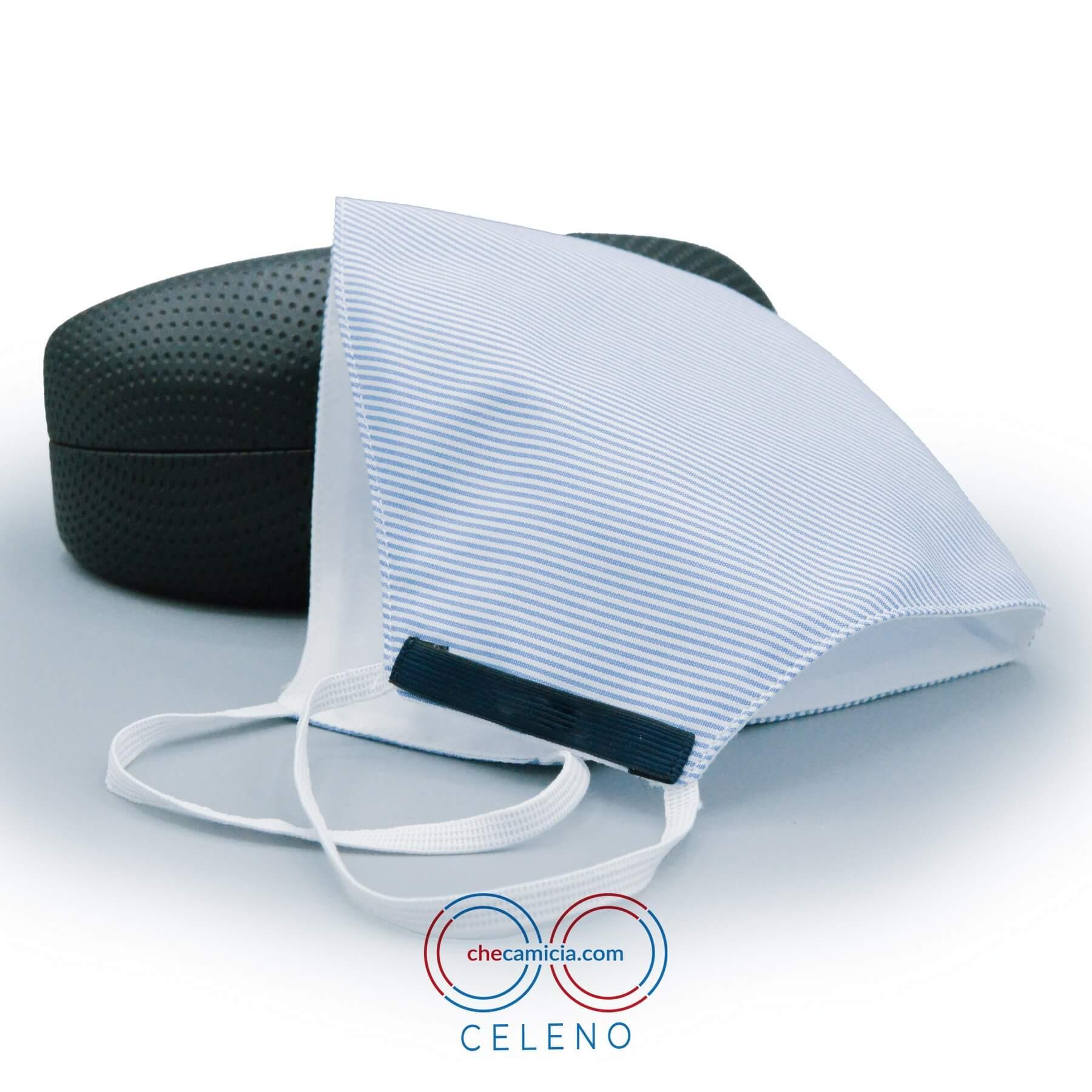 Mascherine in tessuto lavabili righe bianche e celesti 100 cotone checamicia - Celeno