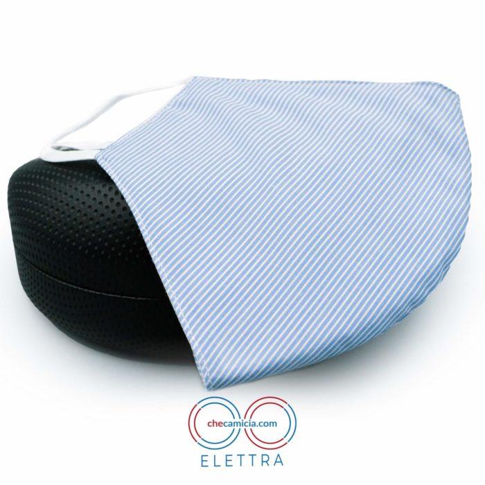 Mascherine in tessuto lavabili righe bianche e celesti 100 cotone checamicia - Elettra