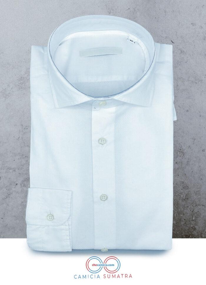 Camicia bianca uomo tessuto operato di cotone 100 sumatra checamicia