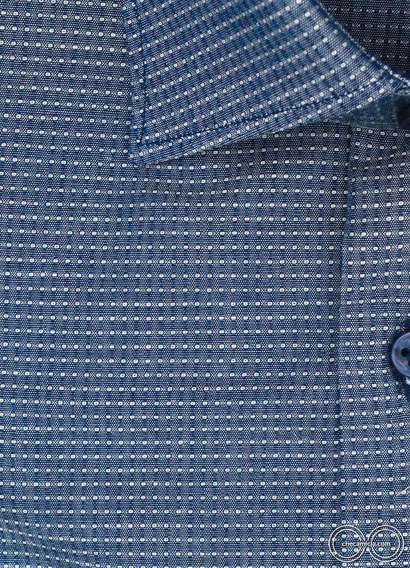 Camicia blu a pois bianchi Austin camicie online uomo