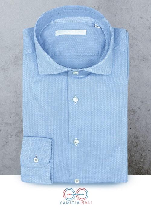 Camicia celeste uomo tessuto operato di cotone 100 bali checamicia