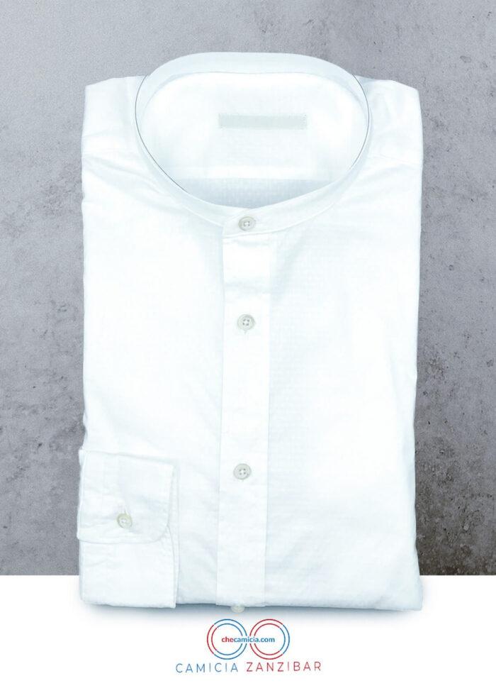 Camicia collo coreana uomo bianca Zanzibar camicie online uomo