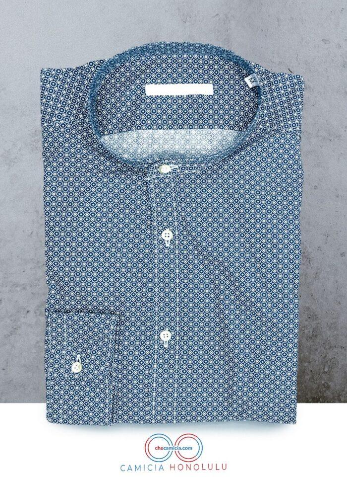 Camicia collo coreana uomo camicie online camicia fantasia blu scuro honolulu