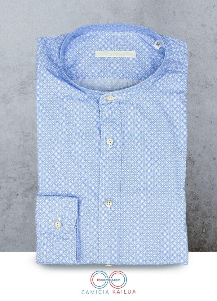 Camicia coreana uomo camicie online colletto coreano camicia fantasia celeste kailua