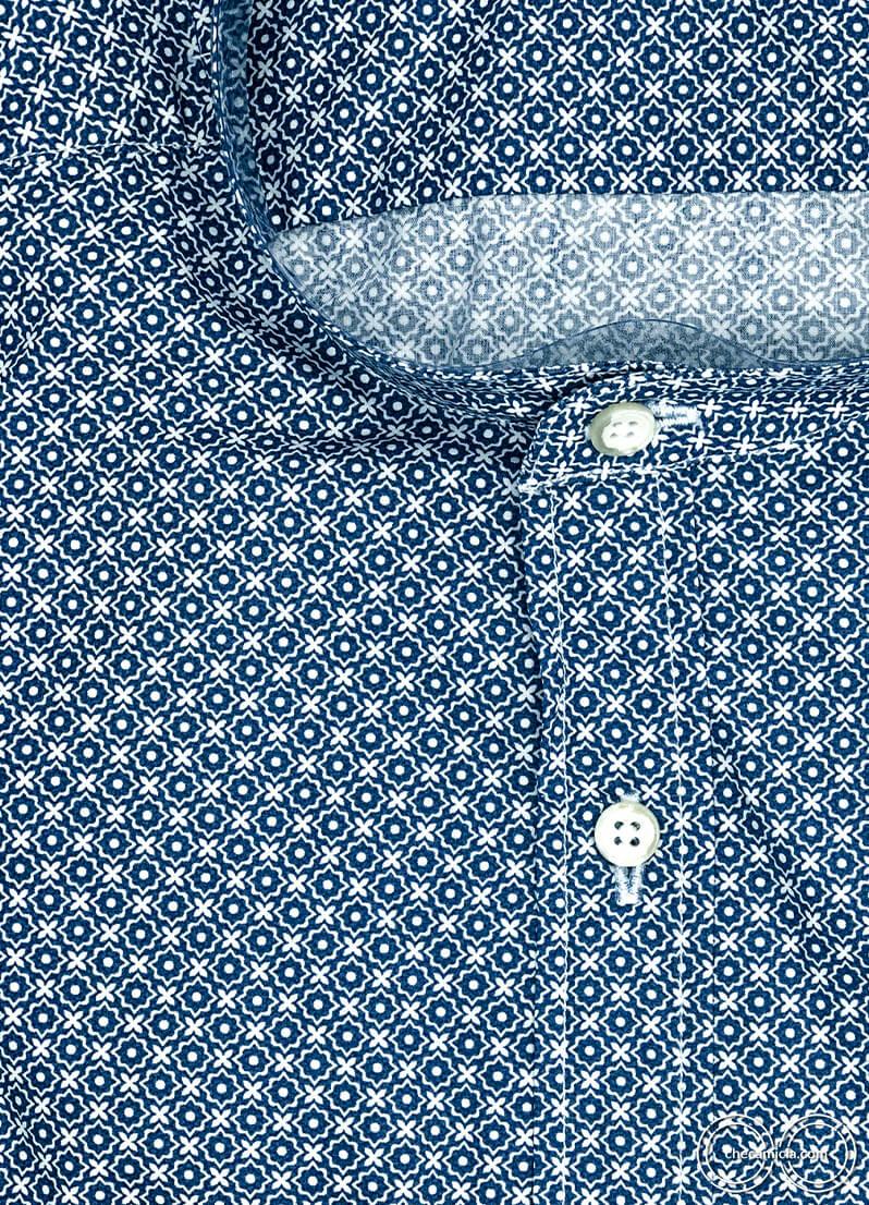 Camicia coreana uomo fantasia blu Honolulu camicie online uomo