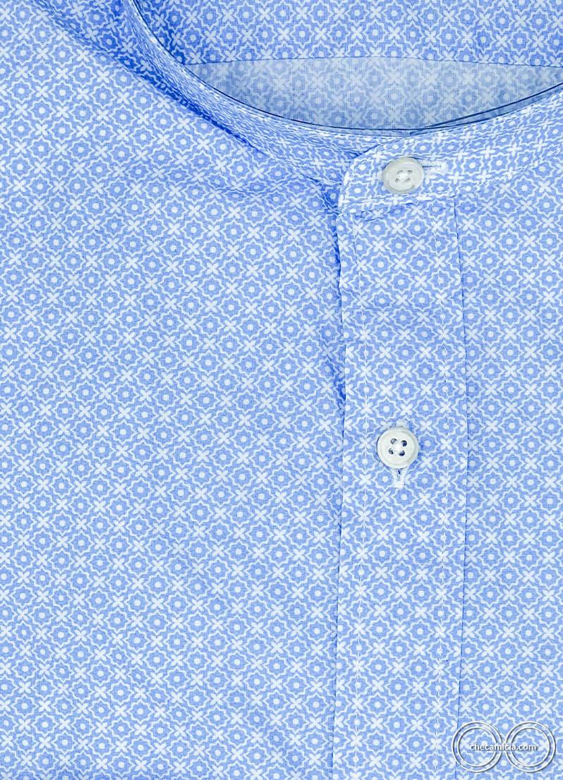 Camicia coreana uomo fantasia celeste Kailua camicie online uomo