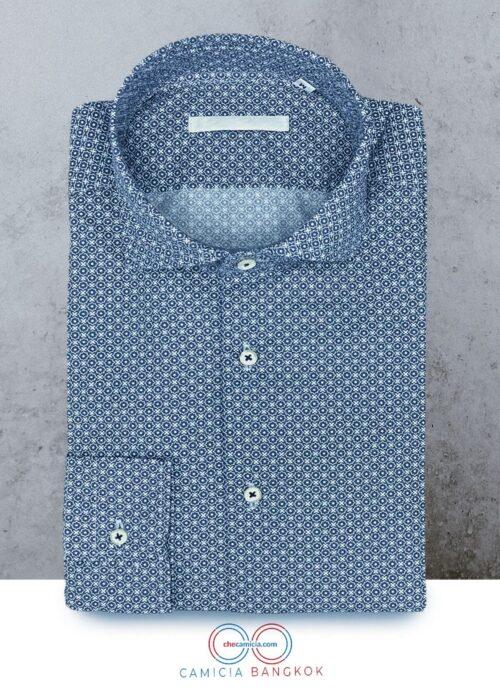 Camicia fantasia blu camicie online uomo collo francese bangkok