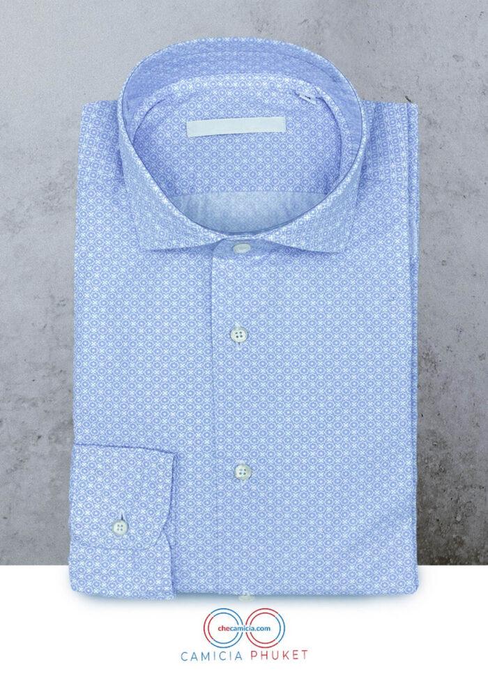 Camicia fantasia celeste camicie online uomo collo francese phuket