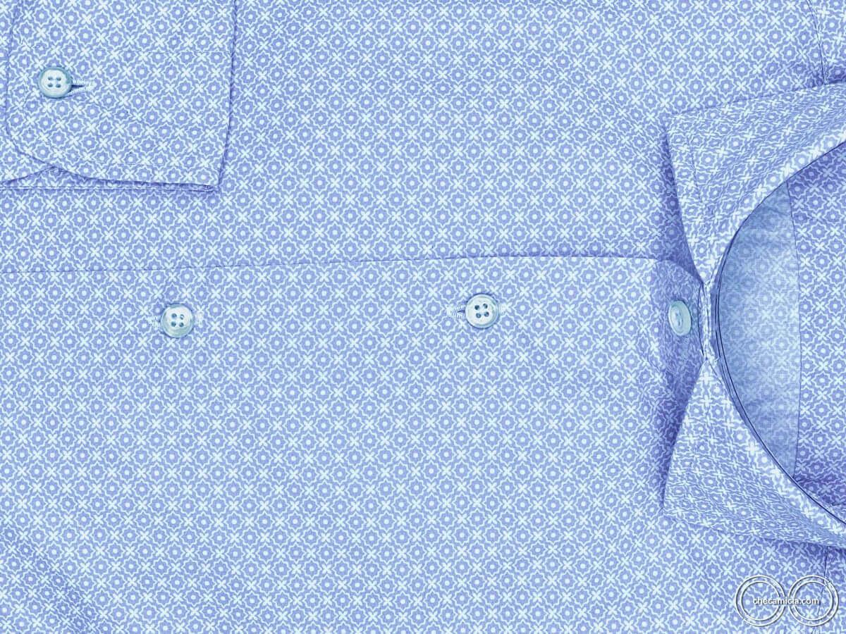 Camicie online uomo collo alla francese camicia fantasia azzurra phuket