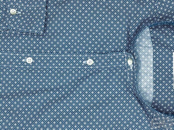 Camicie online uomo collo coreano camicia fantasia blu scuro honolulu