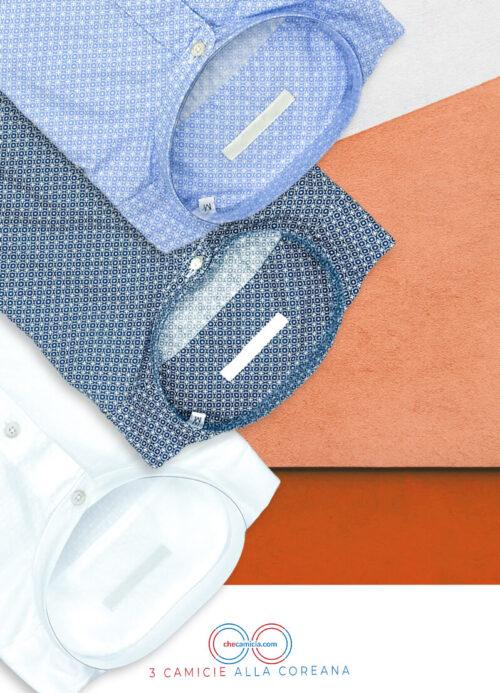 Camicia collo coreana packet camicie coreane uomo 100 cotone